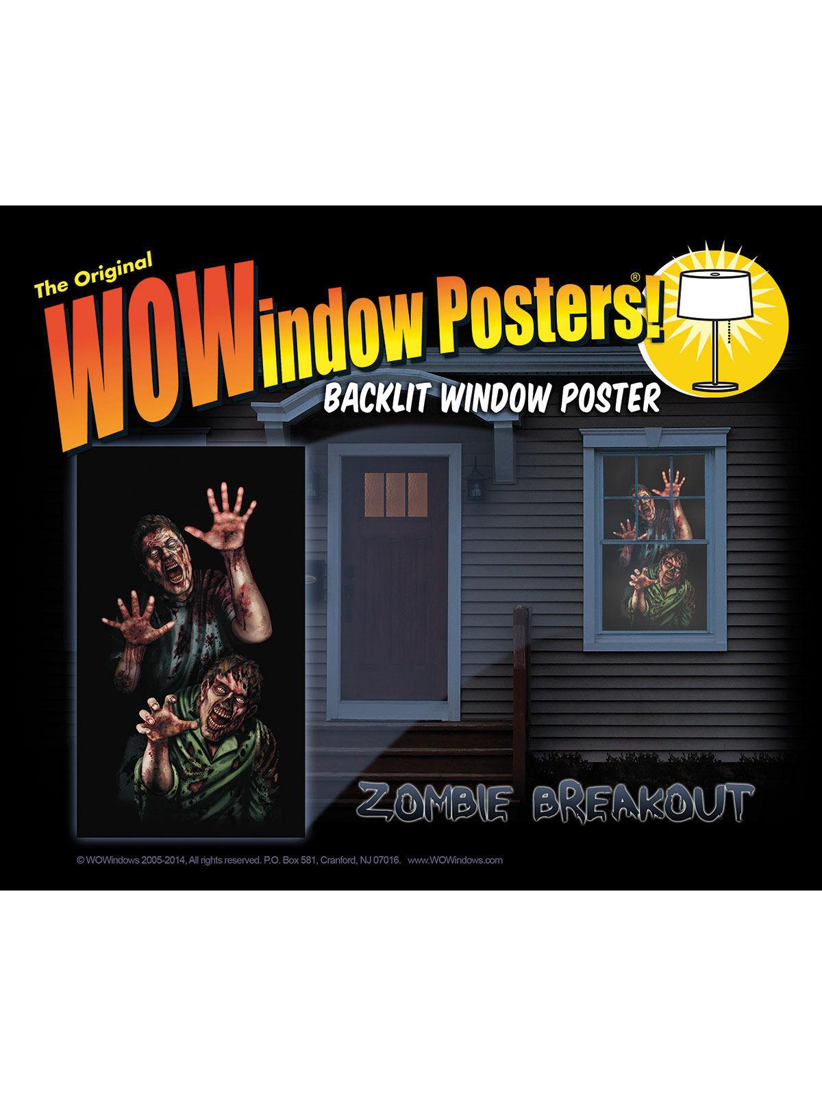 autocollant fen tre zombies 91 x 152 cm deguise toi achat de decoration animation. Black Bedroom Furniture Sets. Home Design Ideas