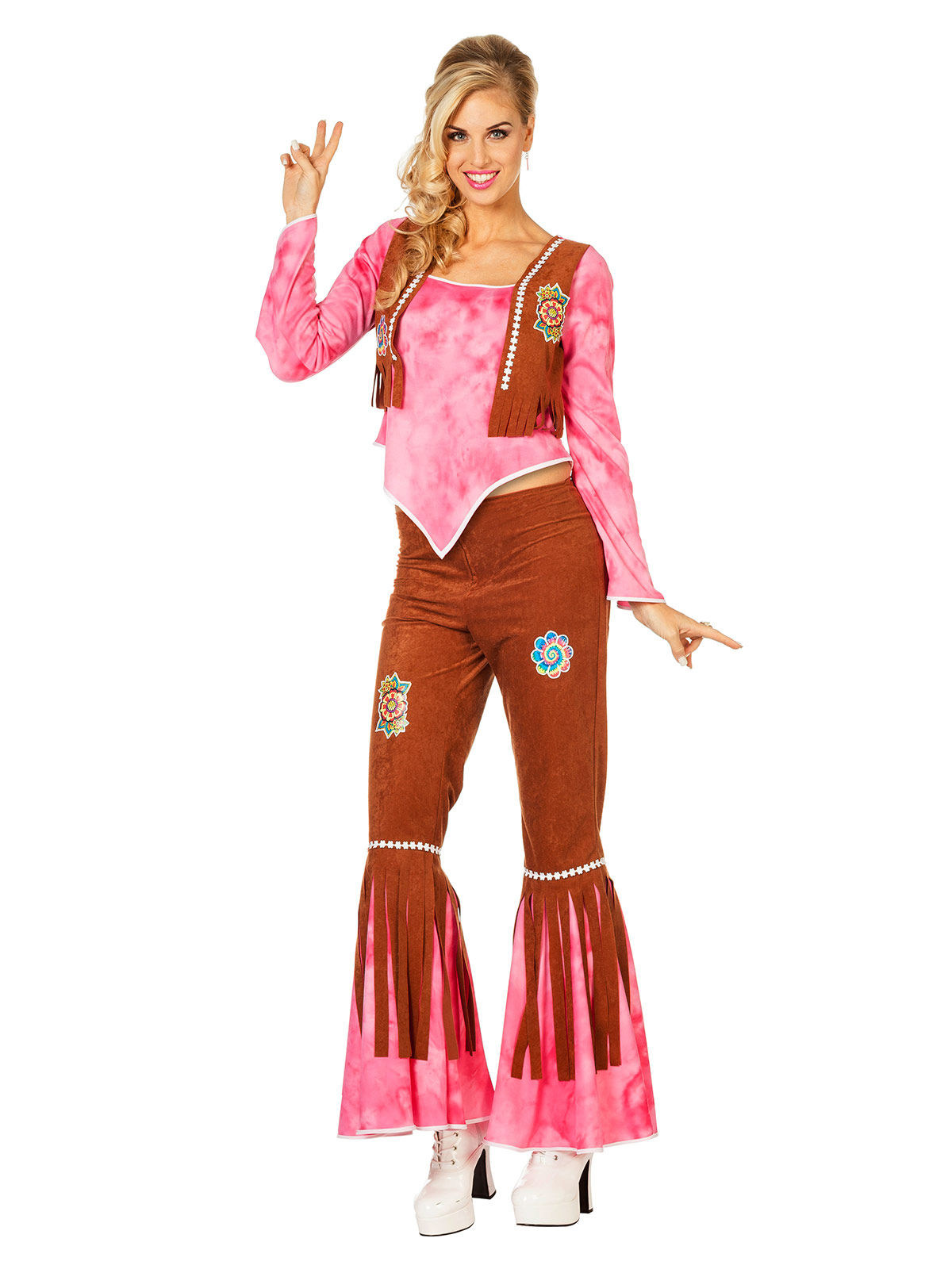 Déguisement hippie rose et marron pour femme   Deguise-toi, achat de ... fea871aaa193