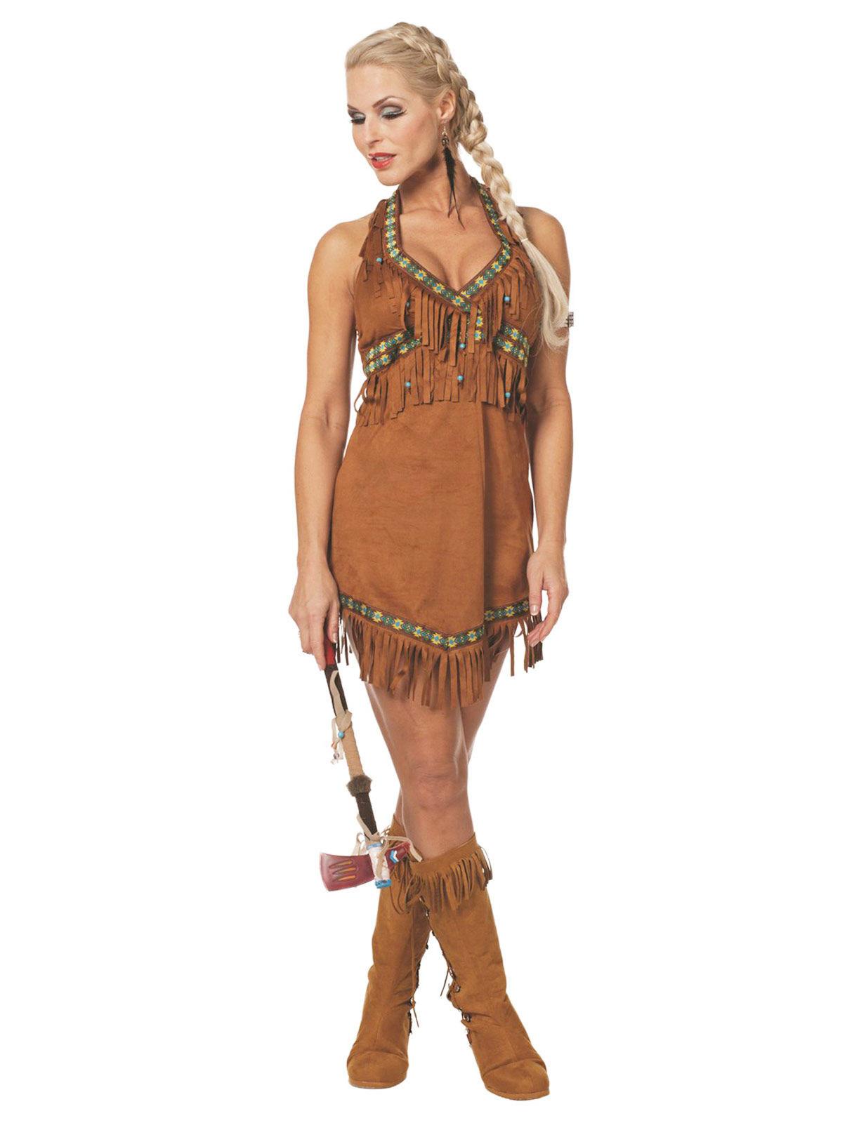 10b13a900145 Déguisement indienne marron à franges sexy femme   Deguise-toi ...