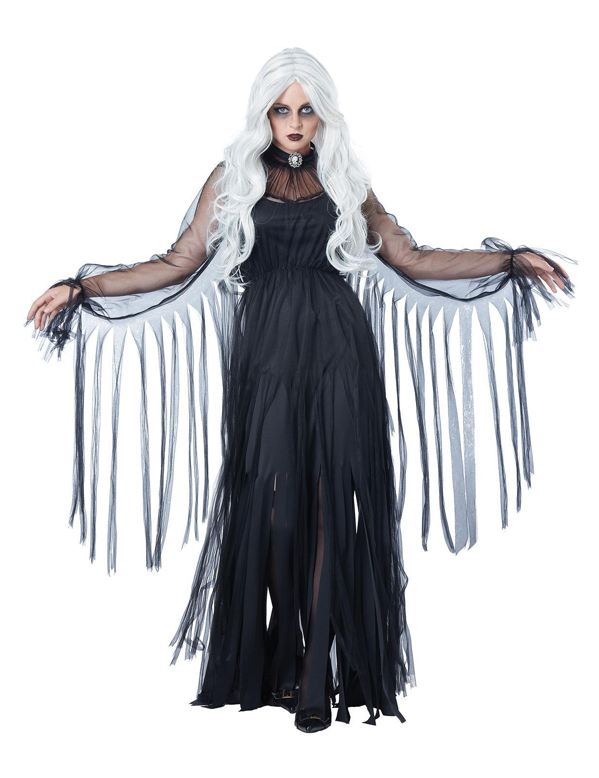 0bc65277e09 Déguisement fantôme élégant Halloween femme noir   Deguise-toi ...