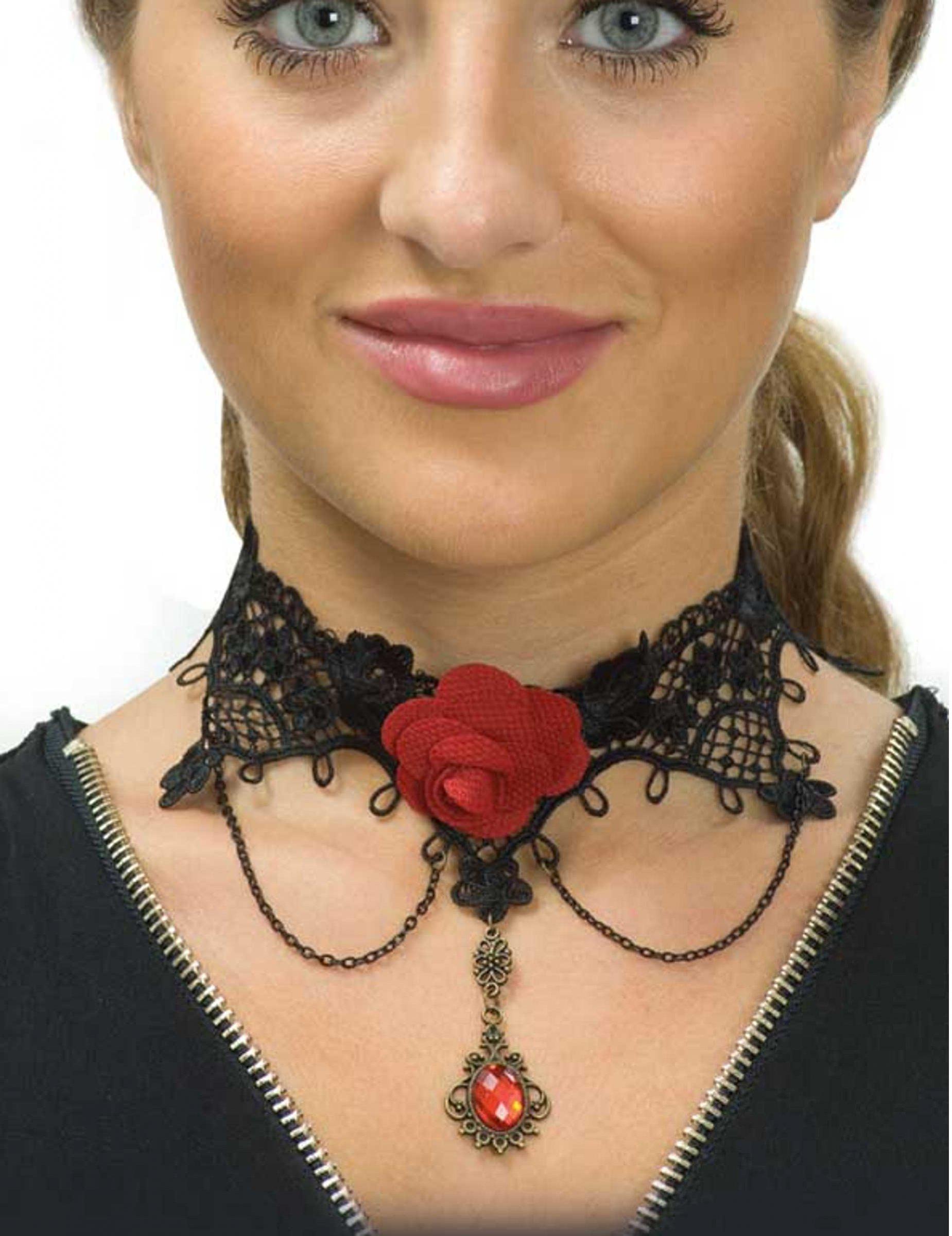 Ras de cou dentelle noire et rose rouge femme Dia de los muertos ... 12706f1f0a22