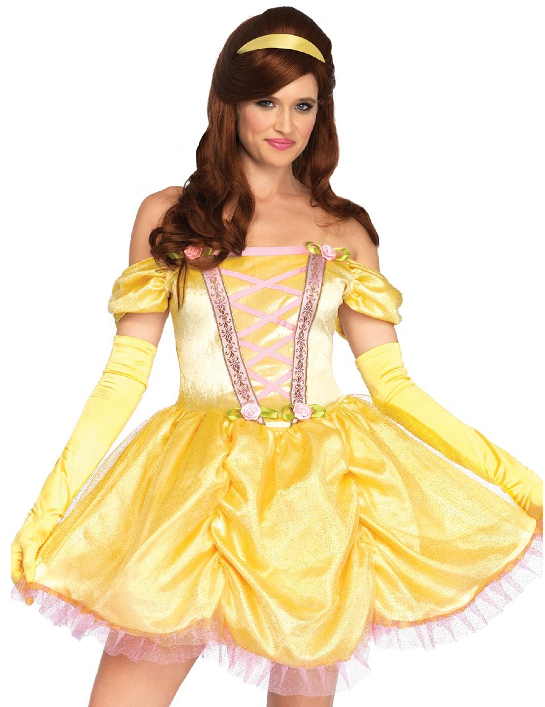 d guisement princesse enchant e jaune femme deguise toi achat de d guisements adultes. Black Bedroom Furniture Sets. Home Design Ideas