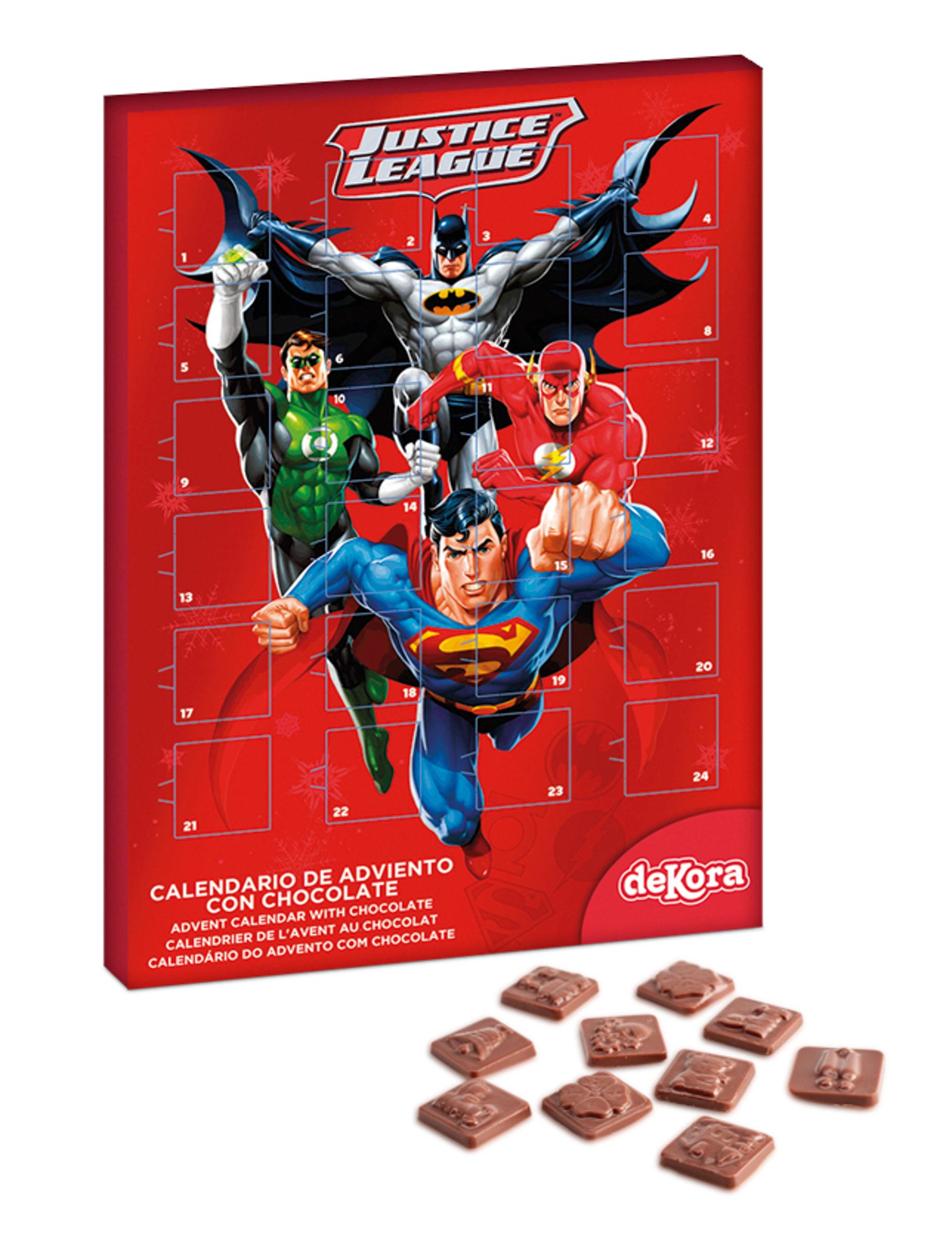 calendrier de l 39 avent au chocolat justice league deguise toi achat de decoration animation. Black Bedroom Furniture Sets. Home Design Ideas