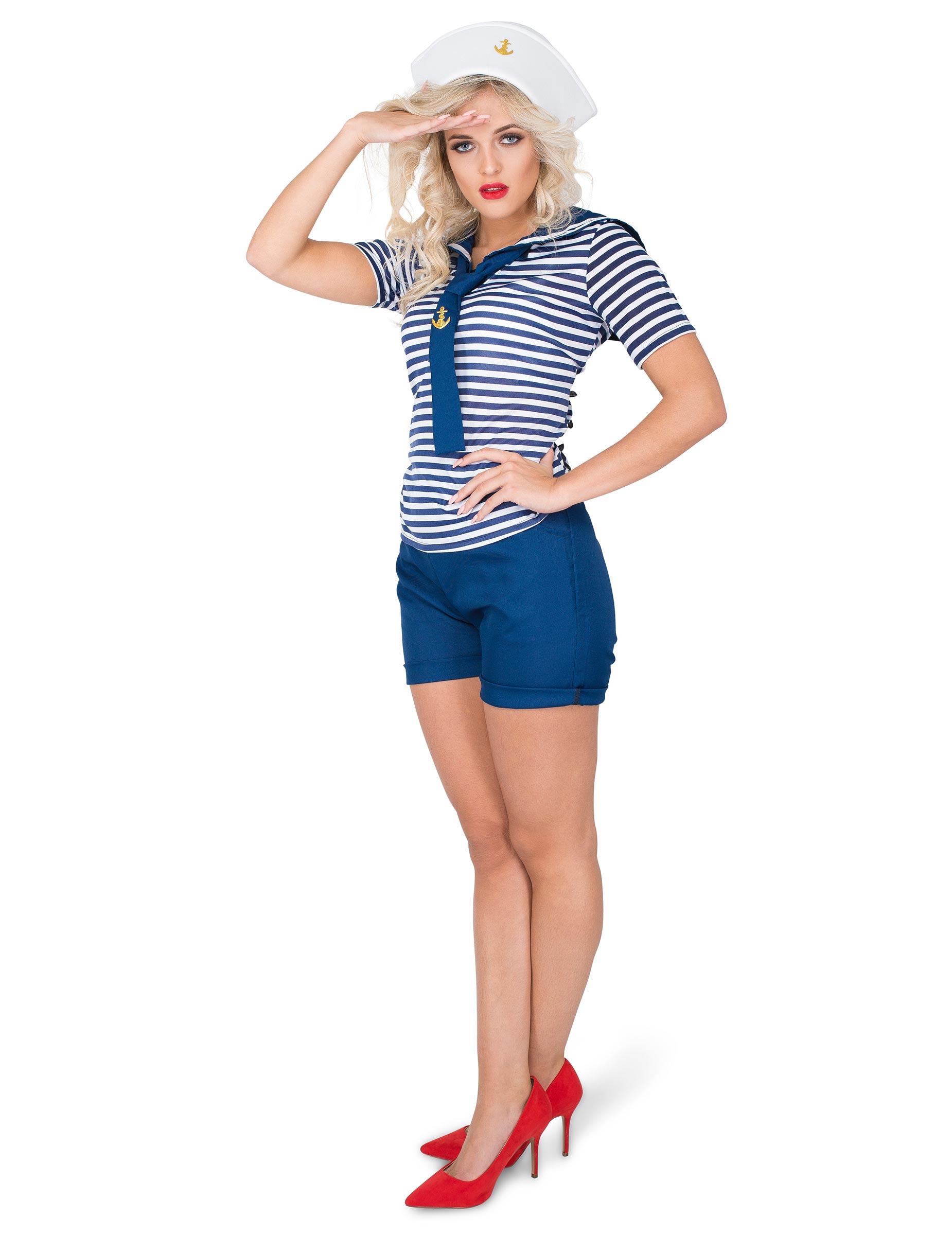 25706fb796005a Déguisement marin ensemble short femme