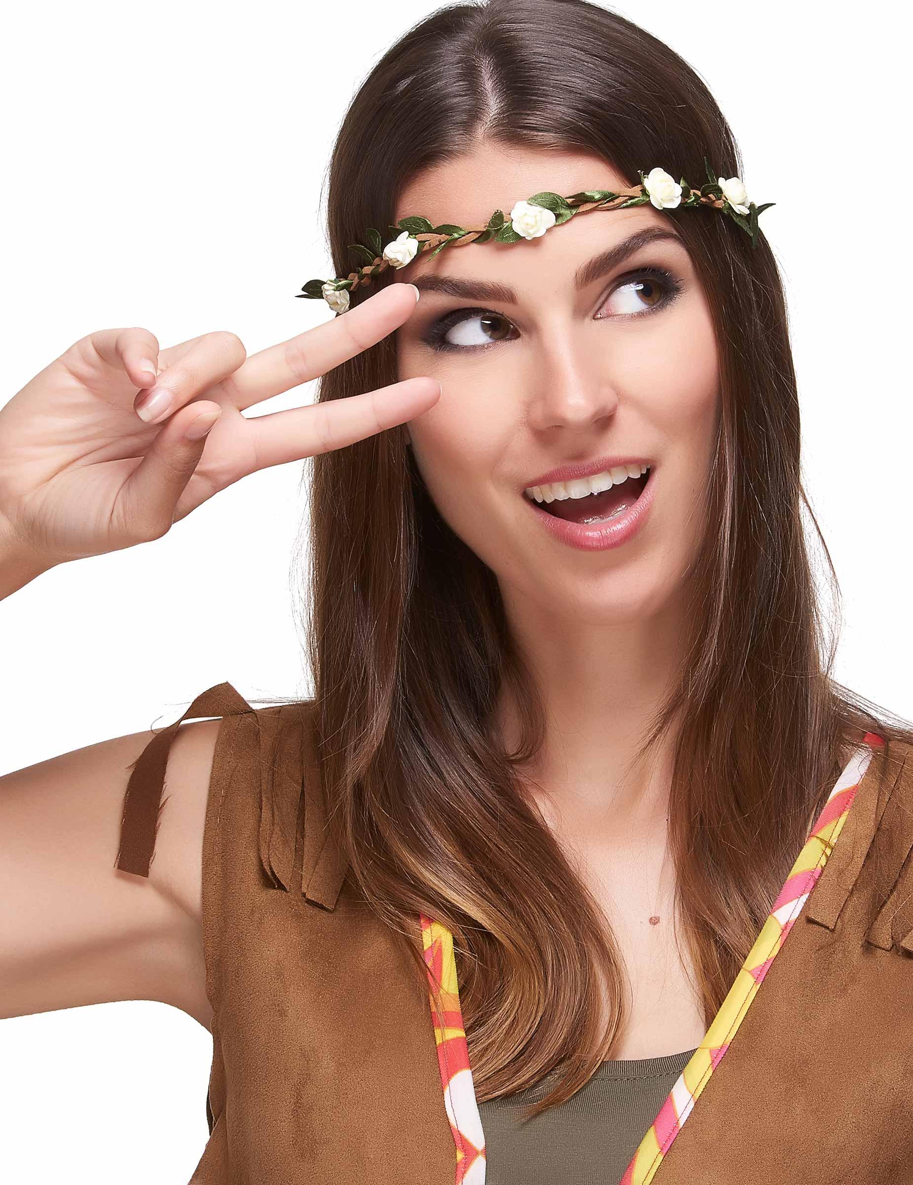 Couronne de fleurs blanches élastique adulte,1