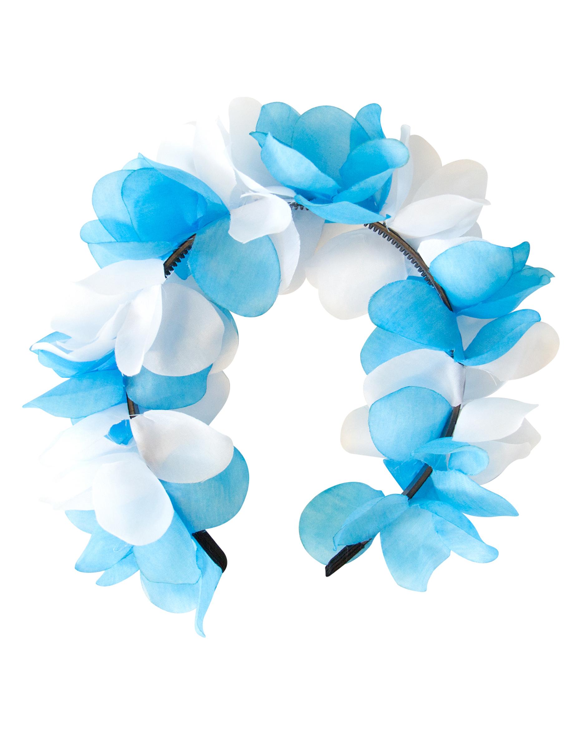 couronne de fleurs bleu et blanche deguise toi achat de. Black Bedroom Furniture Sets. Home Design Ideas