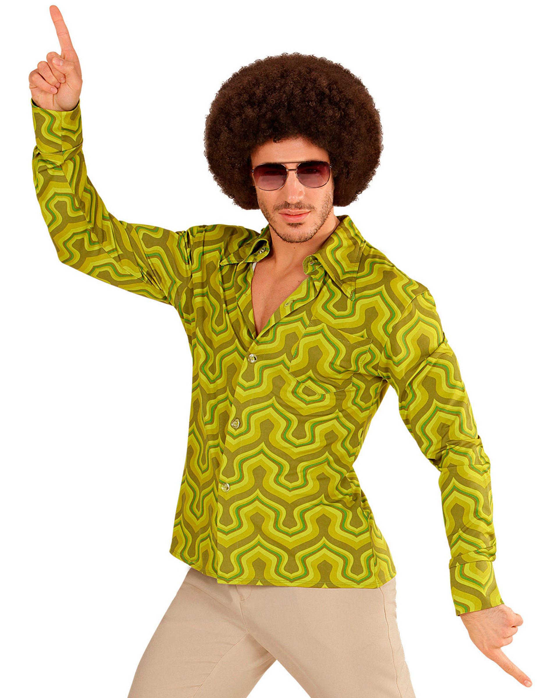 chemise groovy vert ann es 70 homme deguise toi achat de d guisements adultes. Black Bedroom Furniture Sets. Home Design Ideas