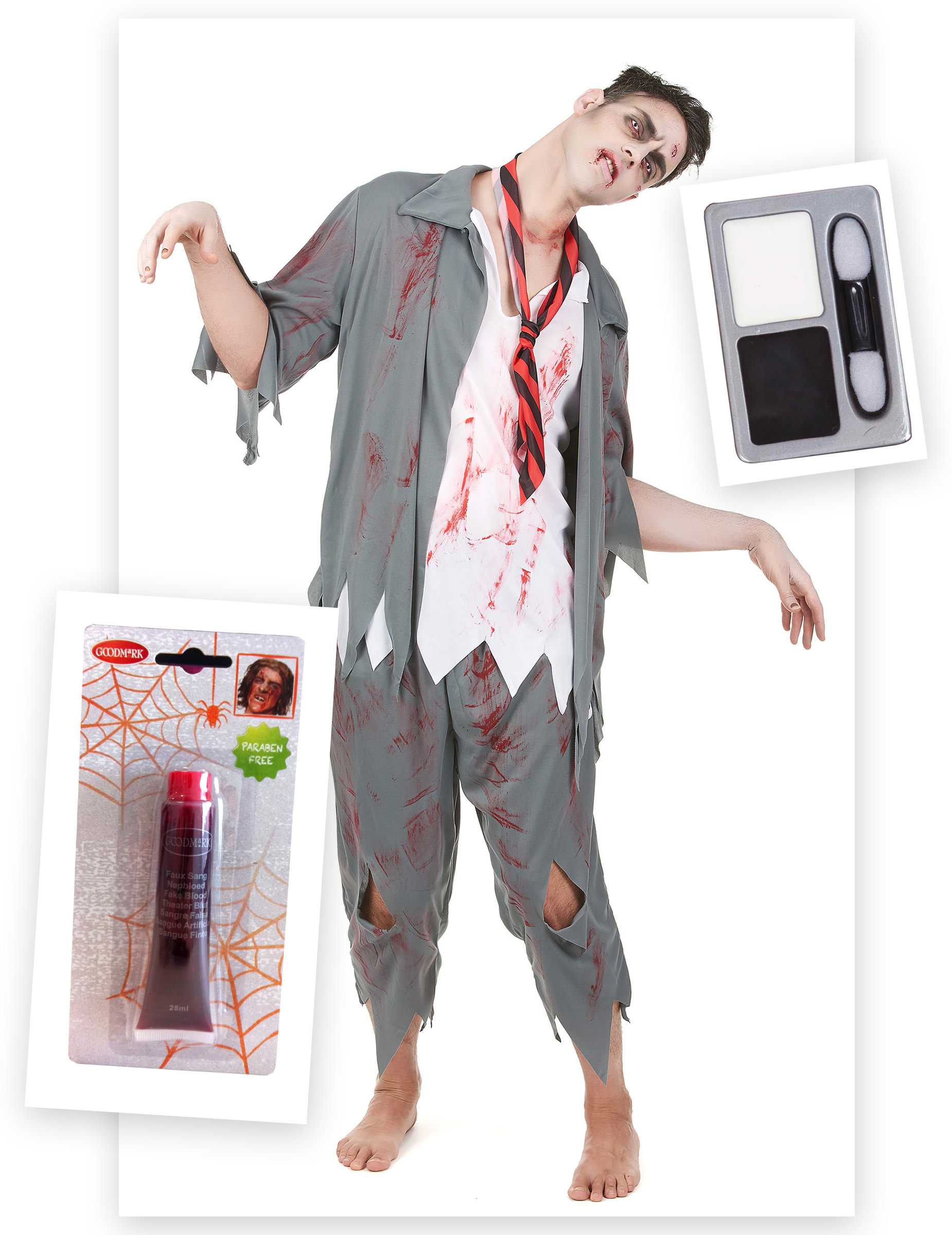 pack d guisement zombie homme avec faux sang et maquillage halloween deguise toi achat de. Black Bedroom Furniture Sets. Home Design Ideas
