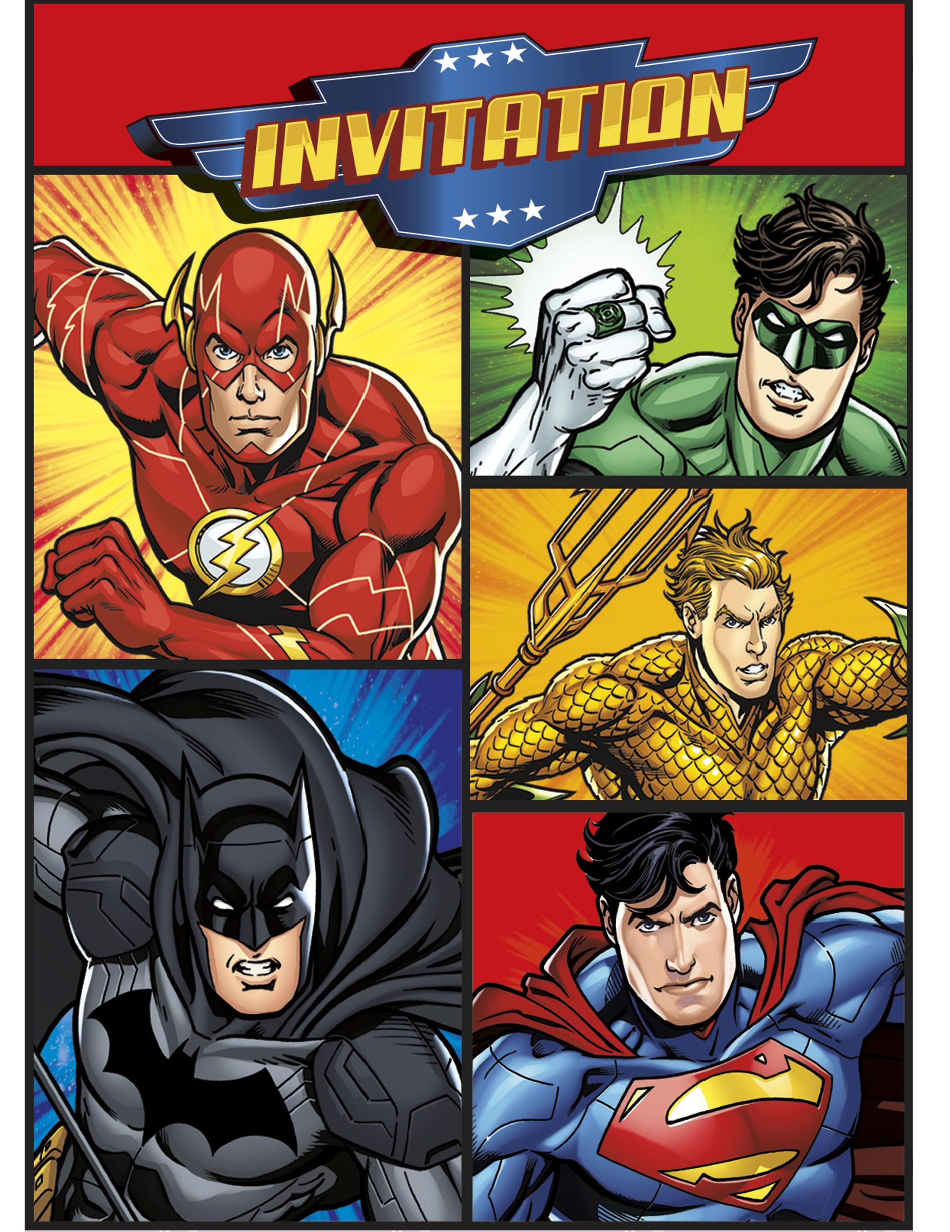 8 cartes d u0026 39 invitation et enveloppes justice league