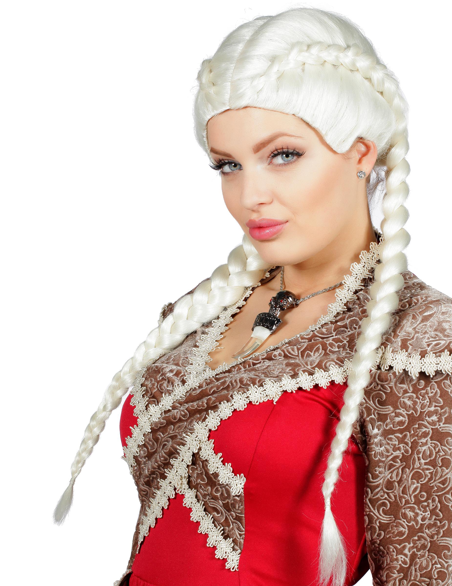 perruque tresses africaines blonde platine femme : deguise-toi