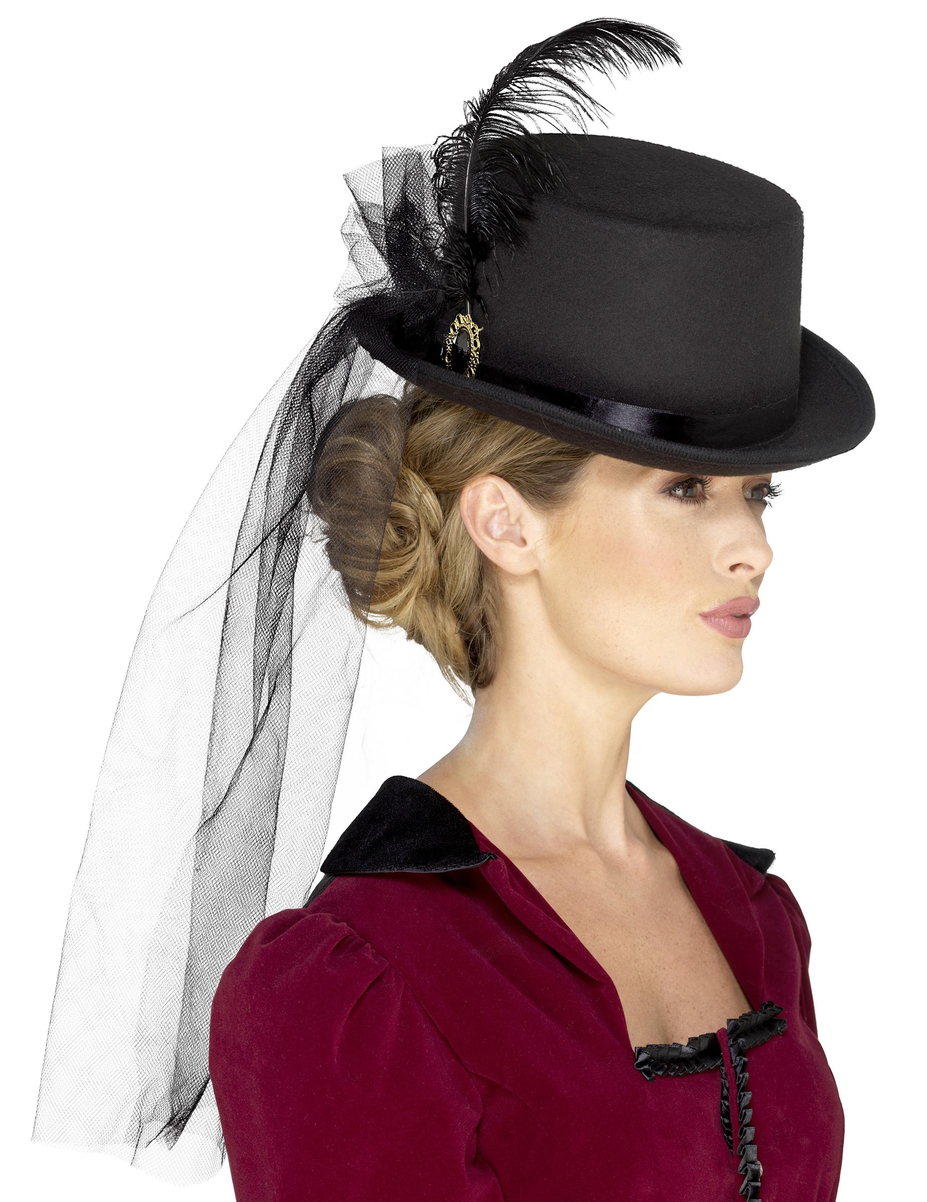chapeau haut de forme avec voile femme steampunk deguise toi achat de chapeaux. Black Bedroom Furniture Sets. Home Design Ideas