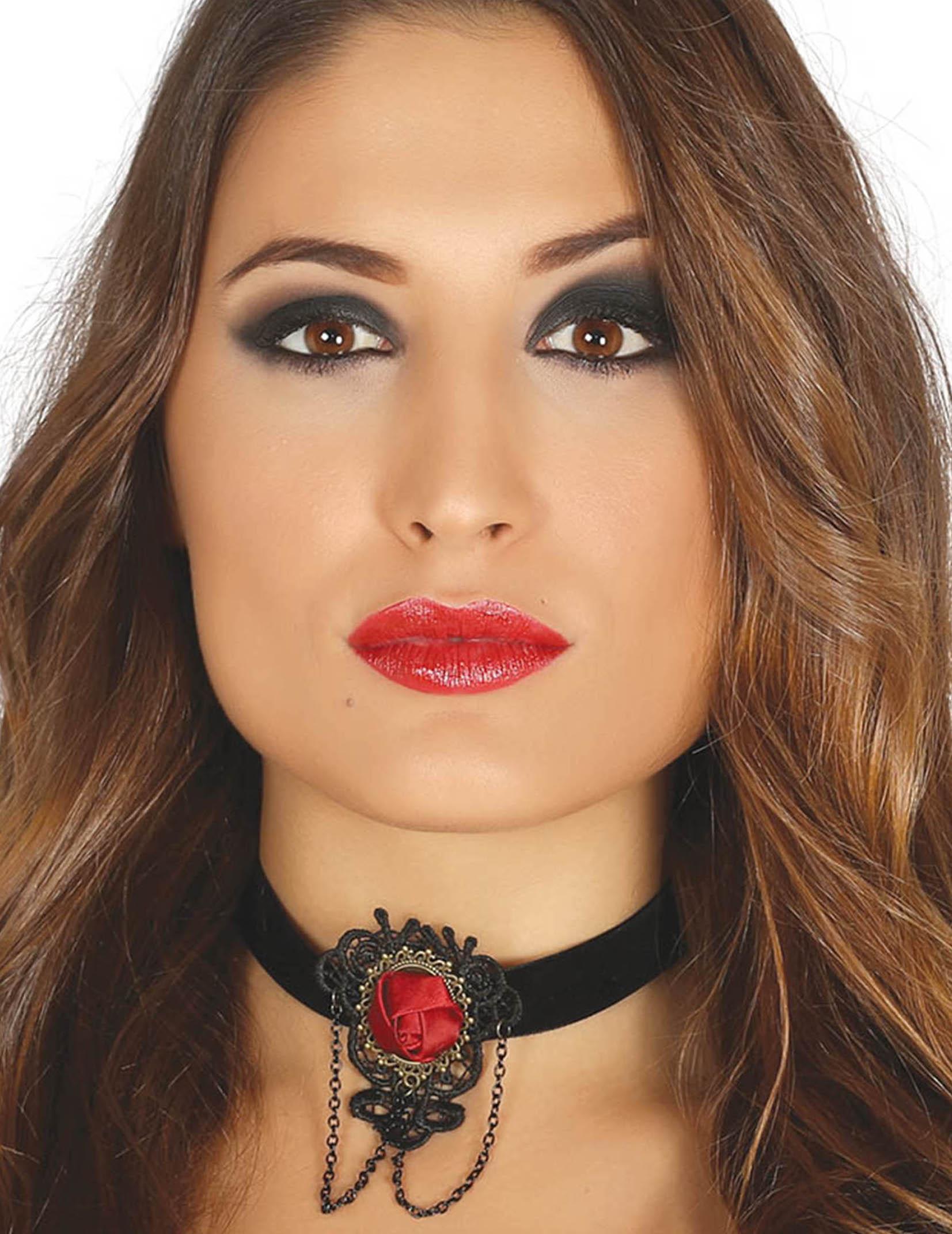 Ras de cou noir avec rose rouge femme   Deguise-toi, achat de ... d96f2065f958
