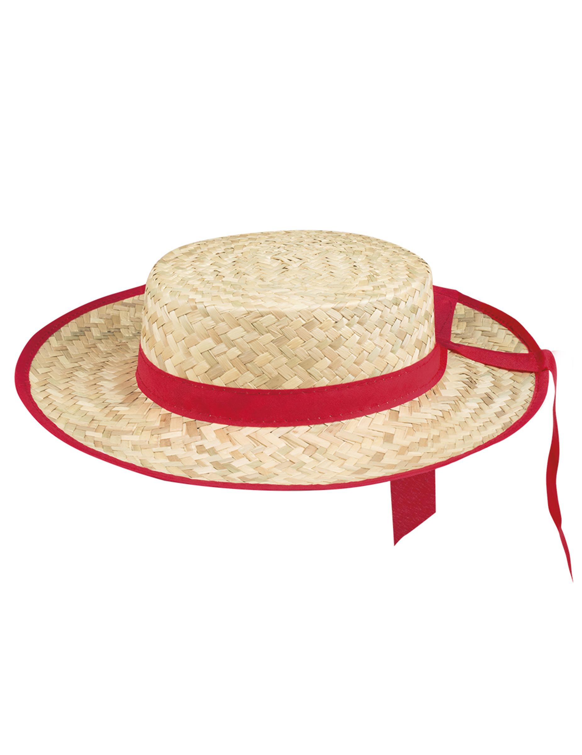 5cf268fc291 Chapeau canotier avec bande rouge adulte   Deguise-toi