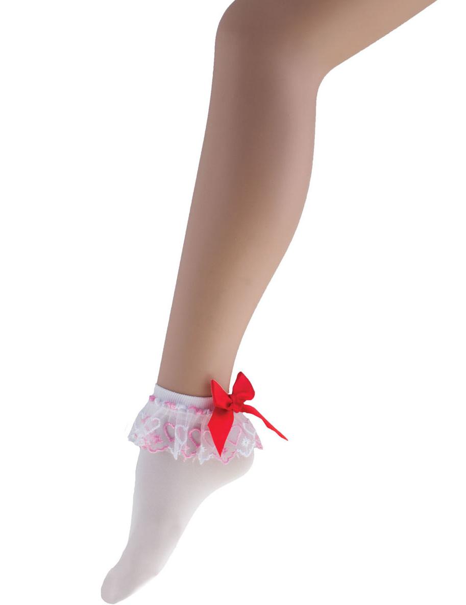 4a6a910c2a5 Socquettes blanches avec noeud rouge femme   Deguise-toi