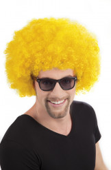Perruque afro disco jaune volume adulte