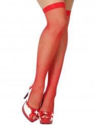 Bas résille fine rouge femme