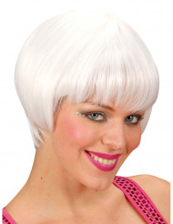 Perruque cabaret courte blanche femme