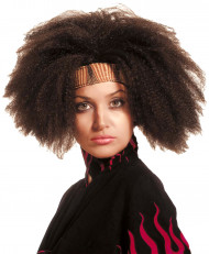 Perruque afro marron adulte