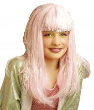 Perruque longue rose fille