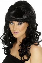 Perruque noire ondulée femme