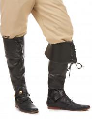 Sur-bottes noire simili cuir lacets et lanière cloutée adulte