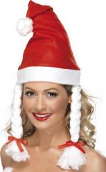 Bonnet rouge avec couettes adulte Noël