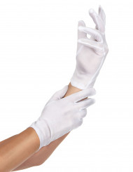 Gants courts blancs adulte polyester