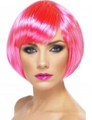 Perruque cabaret courte rose fluo femme