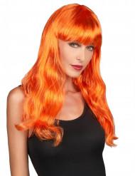 Perruque longue orange vif femme