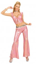 Pantalon disco holographique rose femme