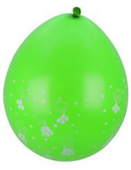 8 Ballons verts motifs petits nounours