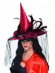 Chapeau sorcière luxe rouge femme Halloween