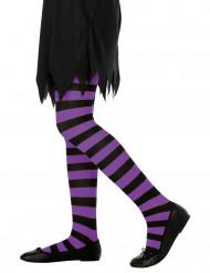 Collants rayés violet et noir fille
