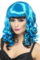 Perruque bleue et noire femme