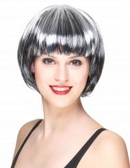 Perruque carré noir et blanc femme