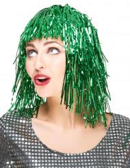 Perruque metallique verte femme