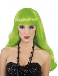 Perruque longue verte fluo femme