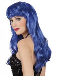 Perruque longue bleue femme