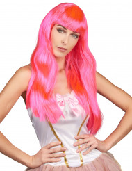 Perruque longue rose fluo femme