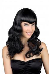 Perruque longue noire avec frange femme