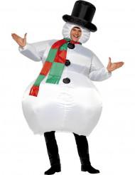 Déguisement bonhomme de neige gonflable adulte