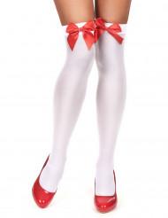 Bas blancs avec noeud rouge femme