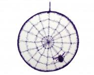 Toile d'araignée violette avec une araignée en cercle