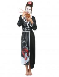 Déguisement geisha femme noir et blanc