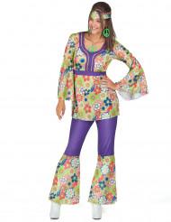 Déguisement hippie fleuri et violet femme