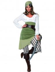 Déguisement pirate vert et blanc femme