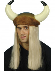 Casque viking avec cheveux blonds adulte