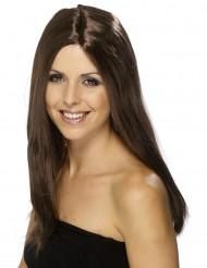 Perruque longue châtain femme 44 cm