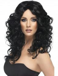 Perruque bouclée longue noire femme