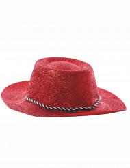 Chapeau cowgirl rouge à paillettes adulte